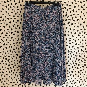 Olivaceous Floral Flowy Button Up Skirt